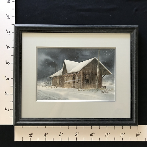 Framed Watercolor - Weissport, PA Central New Jersey Railroad Station