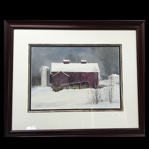 Framed Watercolor - Dallas Bus Barn