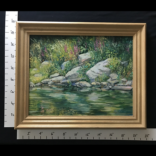"Framed Oil ""Waters Edge: Rocks & Flowers"""