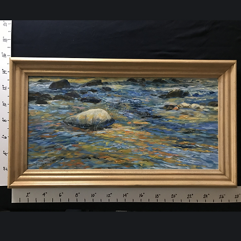 "Framed Oil ""Blue and Gold Water"""