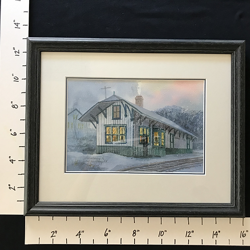 Framed Watercolor - Nesquehoning, PA Central New Jersey Railroad Station