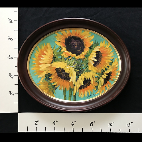 SOLD - Framed Oil Sunflowers