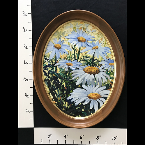 SOLD - Framed Oil Daisies