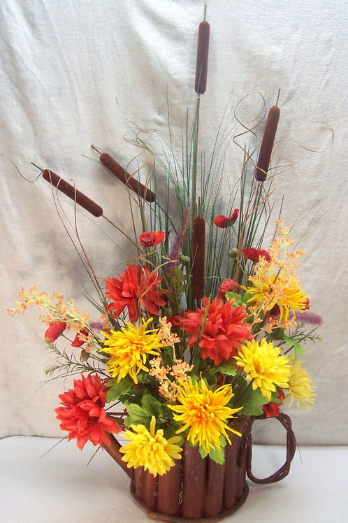 Fall Flowers in watering can