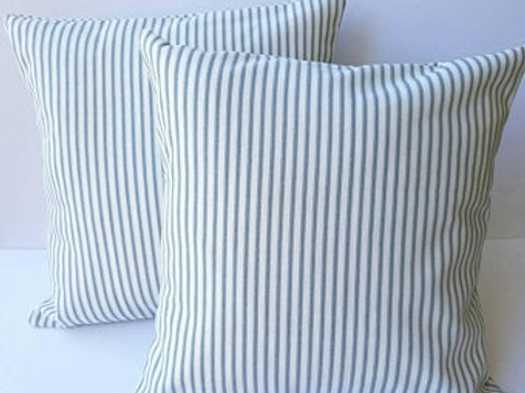 Blue Ticking Stripe Pillow Covers - Set of 2