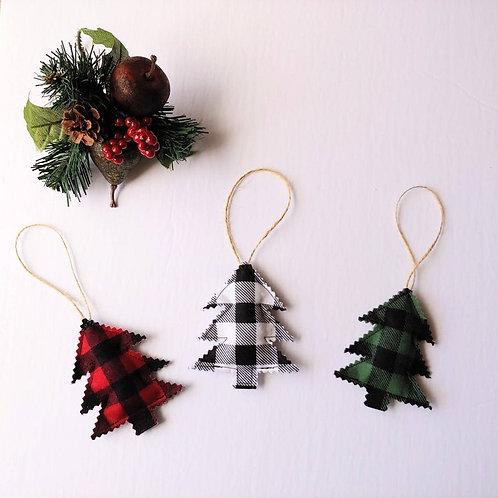 Trio of Farmhouse Christmas Trees Ornaments