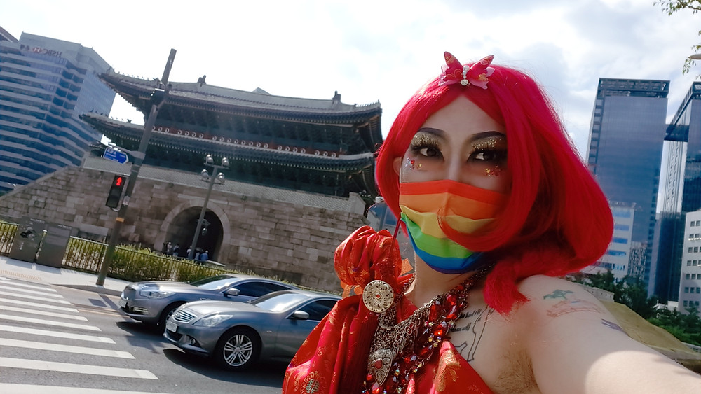 Seoul Pride 2021 Seoul Queer Culture Festival in Korea LGBTQ Artist Activist Drag Queen Hurricane Kimchi aka Heezy Yang 서울퀴어문화축제 퀴어 아티스트 드랙퀸 허리케인 김치 히지 양