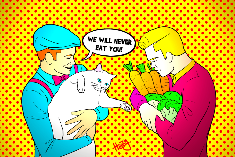 Vegan gay couple pop art by Korean LGBTQ+ queer artist and activist Heezy Yang