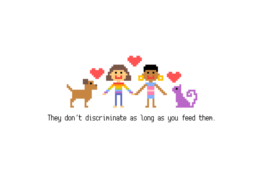 """Pixel art that features pet dog and cat """"They don't discriminate as long as you feed them."""" by Korean LGBTQ+ queer artist and activist Heezy Yang"""