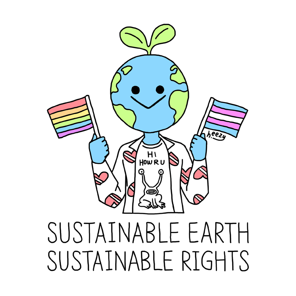 sustainability environmental earth day art by korean queer lgbtq activist and artist heezy yang featuring kurt cobain's outfit