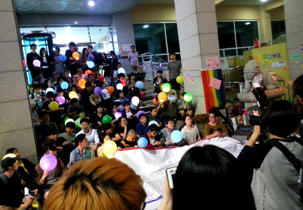 Protest at Namdaemun Police Station for 2015 Seoul Pride