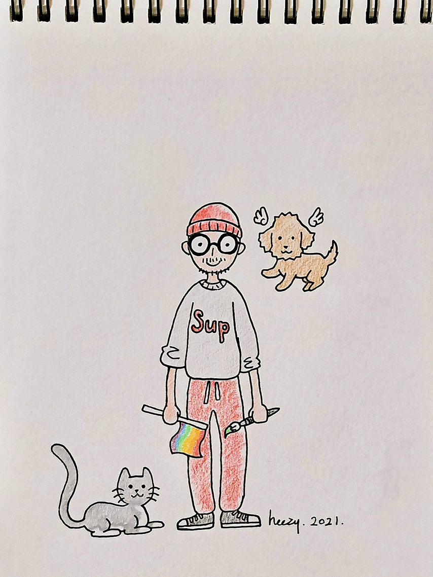 Self-portrait of Korean LGBTQ+ queer artist and activist Heezy Yang, with his pets - a dog and a cat.