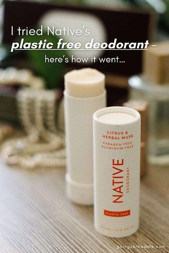Native plastic free deodorant stick - Citrus and herbal musk