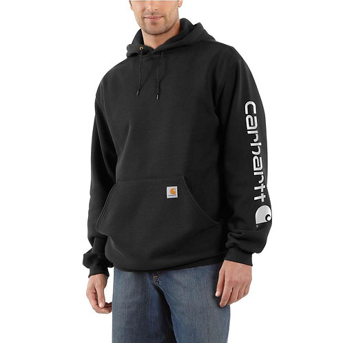 Carhartt K288blk Black Midweight Logo Sleeve Hooded Sweatshirt