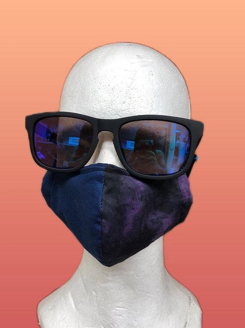 Handmade adult mask, half navy & half purple