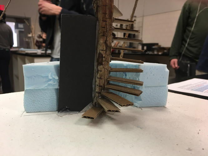 Treehouse model counter (back) and spiral stairs