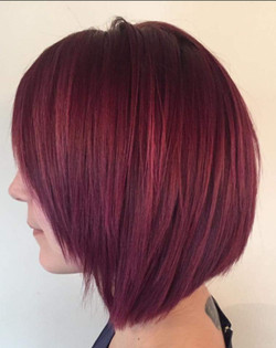 Plum hair coloured bob cut
