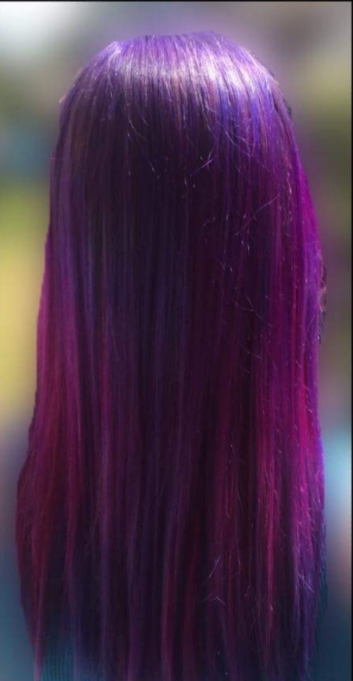 Purple root shadow into pink hair