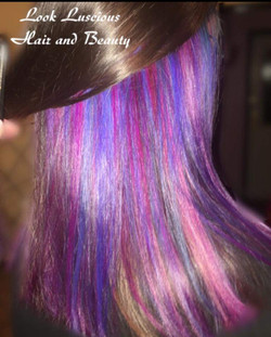 purple, blue and pink peekaboo hair