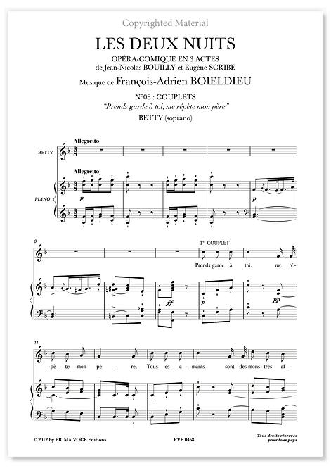 """Boieldieu • DEUX NUITS (LES) • """"Prends garde à toi, me répète mon père""""(soprano)"""