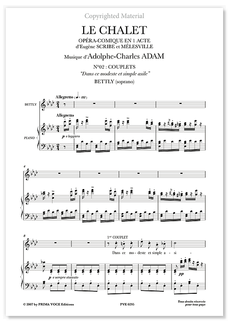 """Adam • CHALET (LE) • """"Dans ce modeste et simple asile"""" (soprano)"""