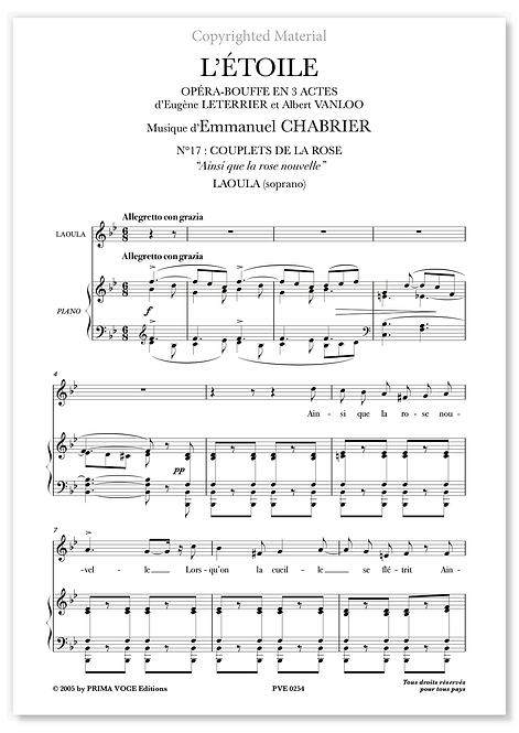 """Chabrier • ÉTOILE (L') • """"Ainsi que la rose nouvelle"""" (soprano)"""