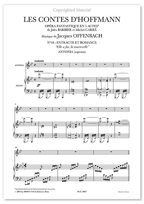 """Offenbach • CONTES D'HOFFMANN (LES) • """"Elle a fui, la tourterelle"""" (soprano)"""