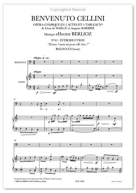 """Berlioz • BENVENUTO CELLINI • """"Teresa ! mais où peut-elle être ?"""" (basse)"""