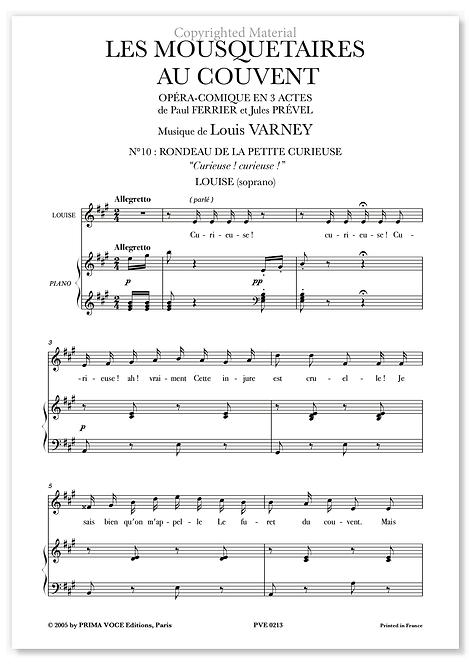 """Varney • MOUSQUETAIRES AU COUVENT (LES) • """"Curieuse ! curieuse !"""" (soprano)"""