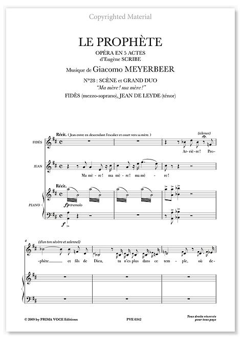"Meyerbeer • PROPHÈTE (LE) • ""Ma mère ! ma mère !"" (mezzo/tén.)"