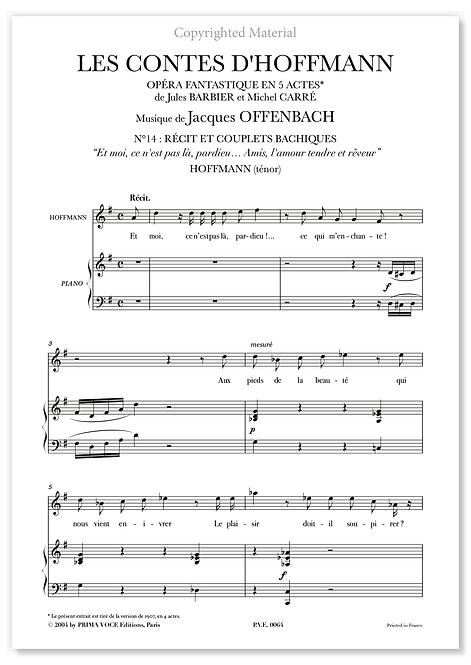 """Offenbach • CONTES D'HOFFMANN (LES) • """"Amis, l'amour tendre et rêveur"""" (ténor)"""