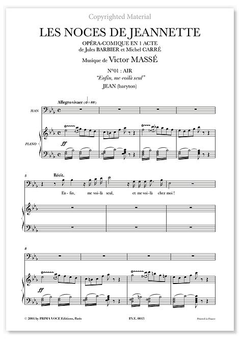 """Massé • NOCES DE JEANNETTE (LES) • """"Enfin, me voilà seul"""" (baryton)"""