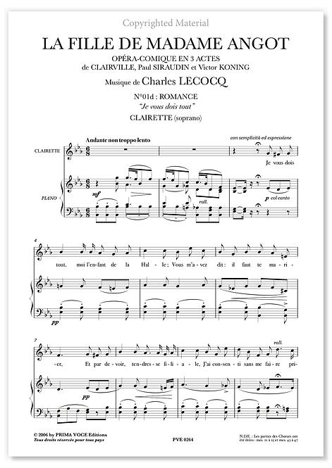 """Lecocq • FILLE DE MADAME ANGOT (LA) • """"Je vous dois tout"""" (soprano)"""