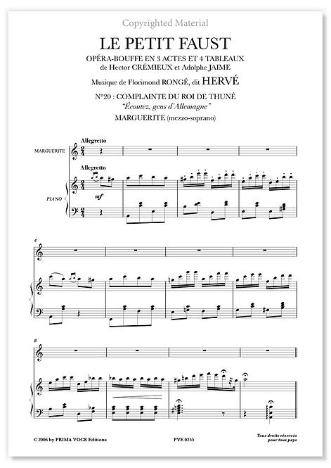 """Hervé • PETIT FAUST (LE) • """"Écoutez, gens d'Allemagne"""" (mezzo-soprano)"""
