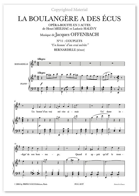 """Offenbach • BOULANGÈRE A DES ÉCUS (LA) • """"Un homm' d'un vrai mérite"""" (ténor)"""