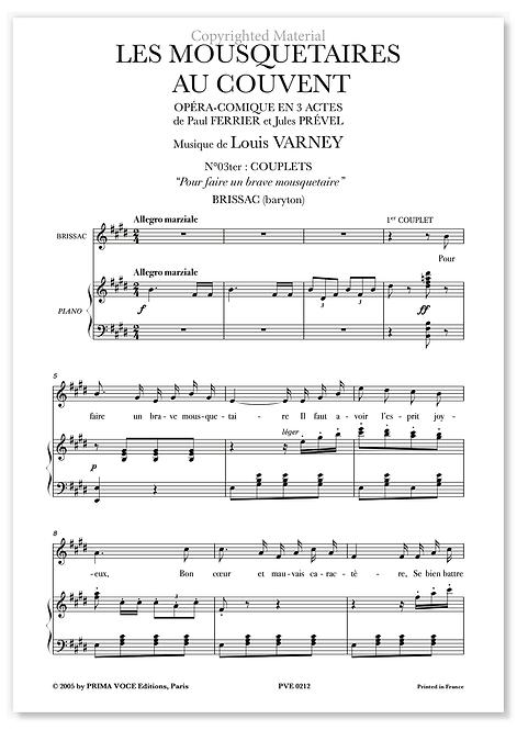 """Varney • MOUSQUETAIRES AU COUVENT (LES) """"Pour faire un brave mousquetaire""""(bar.)"""