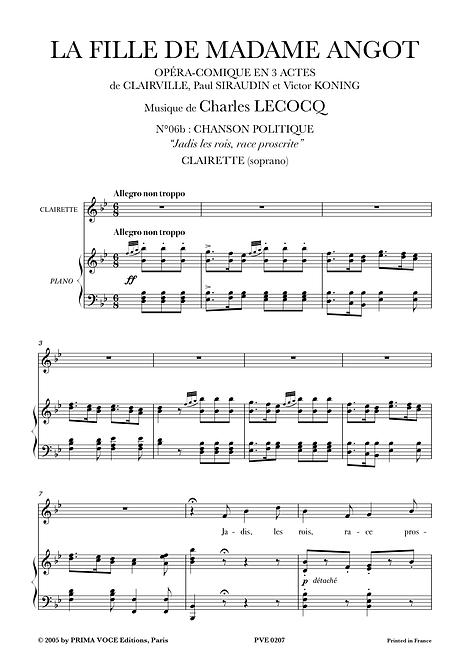 "Lecocq • FILLE DE MADAME ANGOT (LA) • ""Jadis les rois, race proscrite"" (soprano)"