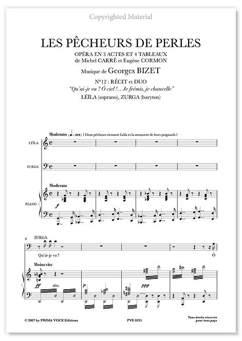"""Bizet • PÊCHEURS DE PERLES (LES) • """"Je frémis, je chancelle"""" (sop./bar.)"""