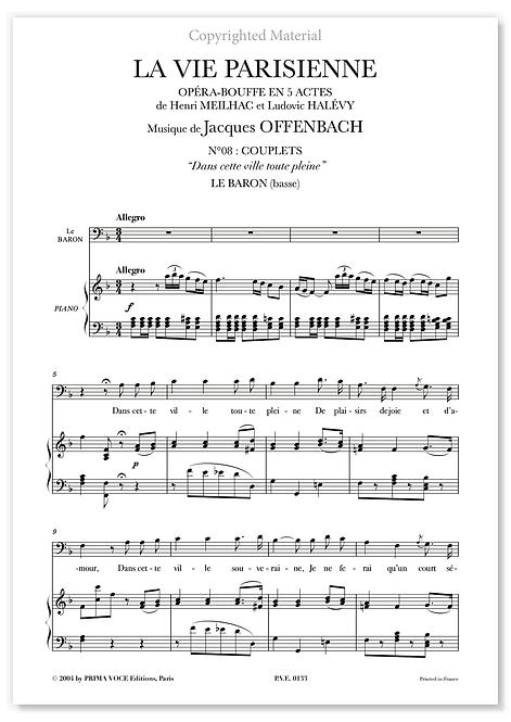 """Offenbach • VIE PARISIENNE (LA) • """"Dans cette ville toute pleine"""" (basse)"""