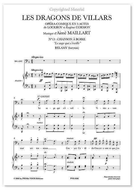 """Maillart • DRAGONS DE VILLARS (LES) • """"Le sage qui s'éveille"""" (baryton)"""