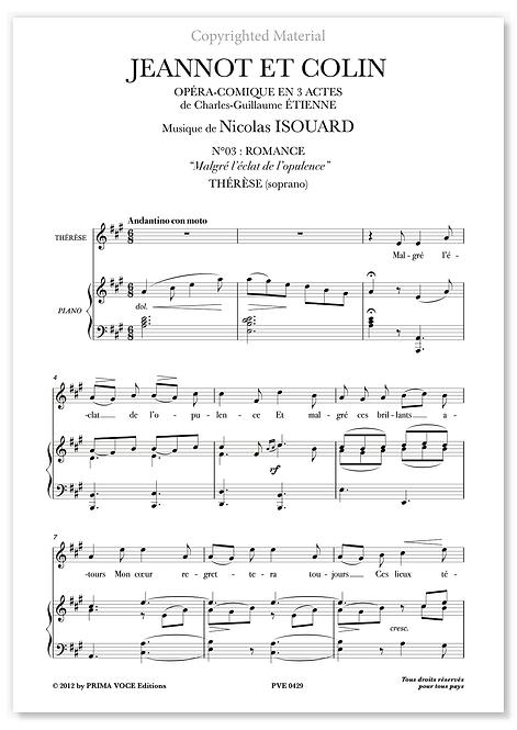 """Isouard • JEANNOT ET COLIN  • """"Malgré l'éclat de l'opulence"""" (soprano)"""
