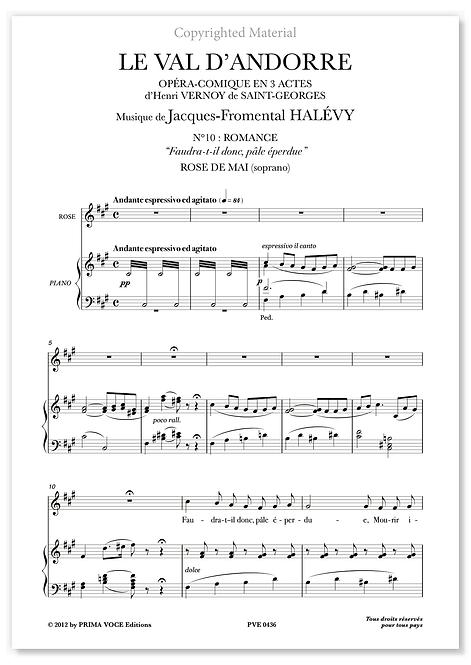 """Halévy • VAL D'ANDORRE (LE) • """"Faudra-t-il donc, pâle éperdue"""" (soprano)"""