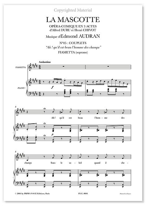 """Audran • MASCOTTE (LA) • """"Ah ! qu'il est beau l'homme des champs"""" (soprano)"""