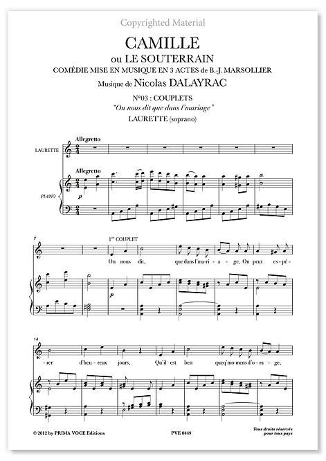 """Dalayrac • CAMILLE OU LE SOUTERRAIN  • """"On nous dit que dans l'mariage""""(soprano)"""