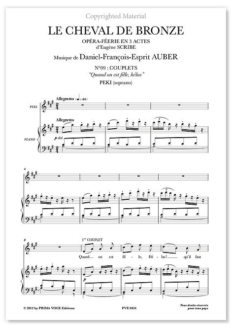"Auber • CHEVAL DE BRONZE (LE) • ""Quand on est fille, hélas"" (soprano)"