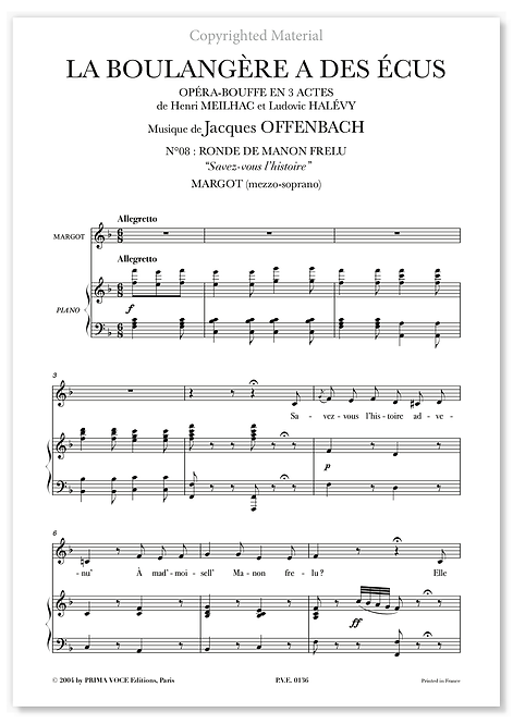 """Offenbach • BOULANGÈRE A DES ÉCUS (LA) • """"Savez-vous l'histoire"""" (mezzo.)"""
