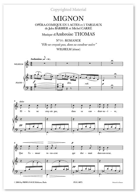 """Thomas • MIGNON • """"Elle ne croyait pas, dans sa candeur naïve"""" (ténor)"""