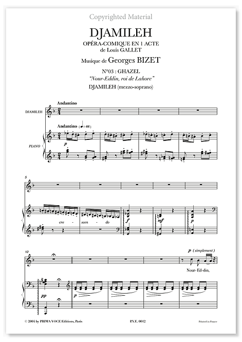 """Bizet • DJAMILEH • """"Nour-Eddin, roi de Lahore"""" (mezzo-soprano)"""