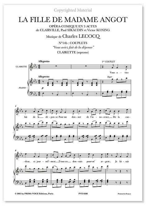 """Lecocq • FILLE DE MADAME ANGOT (LA) • """"Vous aviez fait de la dépense"""" (soprano)"""