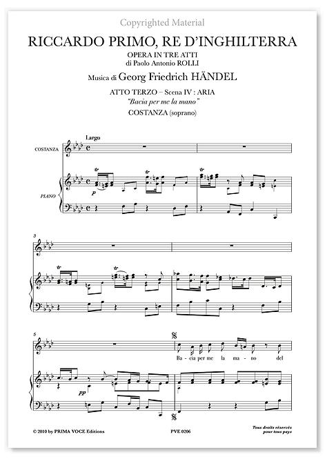 "Händel • RICCARDO PRIMO, RE D'INGHILTERRA • ""Bacia per me la mano"" (soprano)"